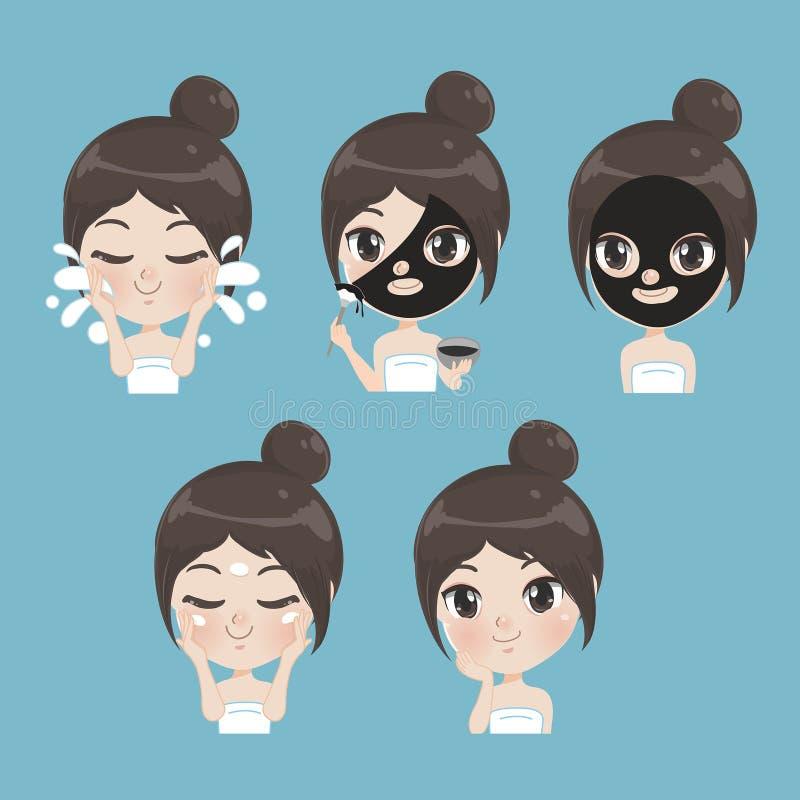 Women facial nature mud treatment stock illustration