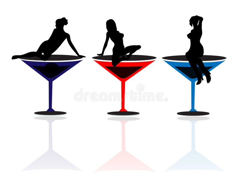 Girls and Martini Glasses stock illustration