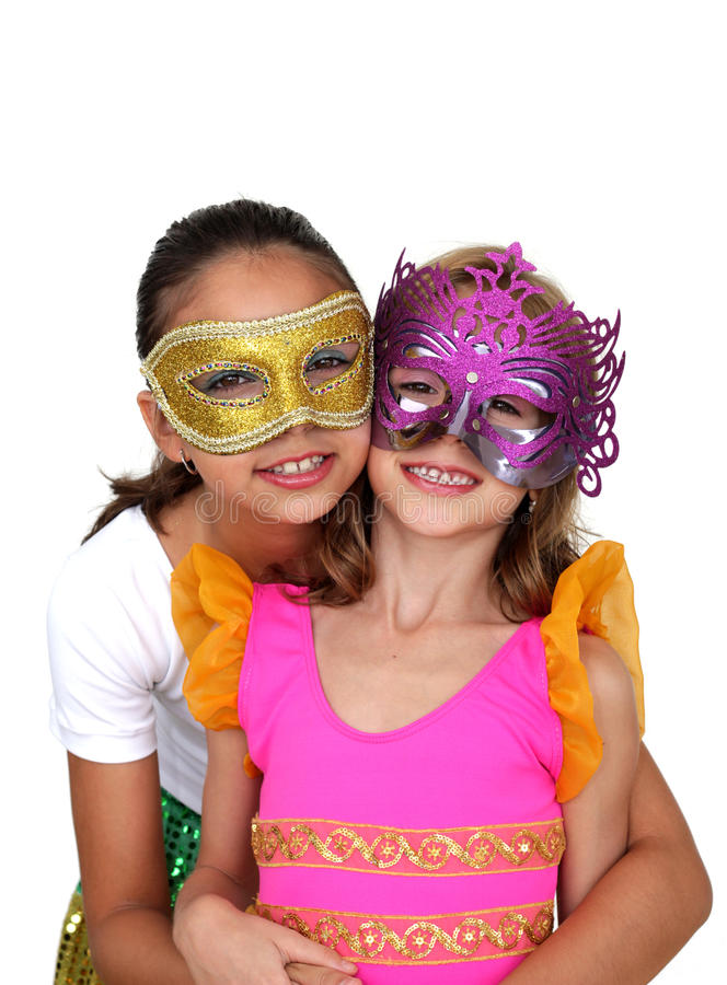 Download Girls with mask stock photo. Image of attractive, feather - 23546088