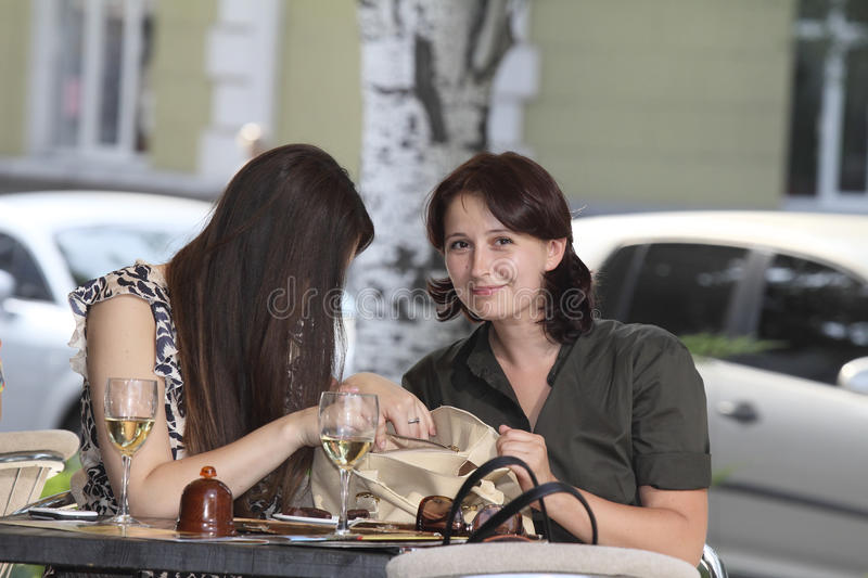 Download Girls met at lunch stock photo. Image of brunettes, communicate - 25789940