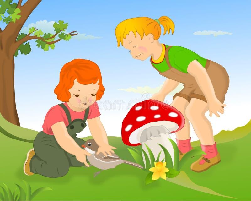Girls and mushroom stock images