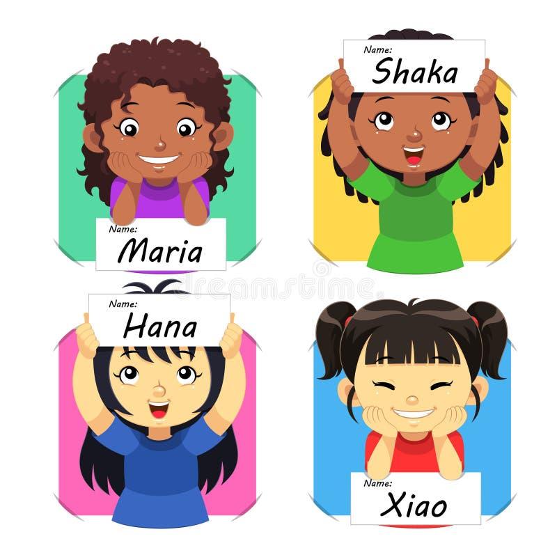 Girls Name 2. Girls holding their name tag vector illustration