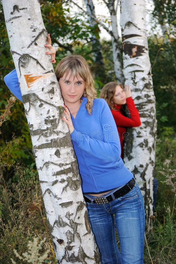 Free Girls Near Birches Royalty Free Stock Image - 8028786