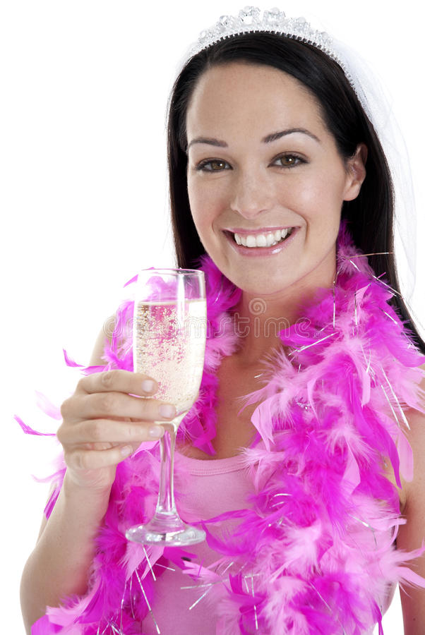 Girls night out. Happy young woman holding glass of champagne stock photos