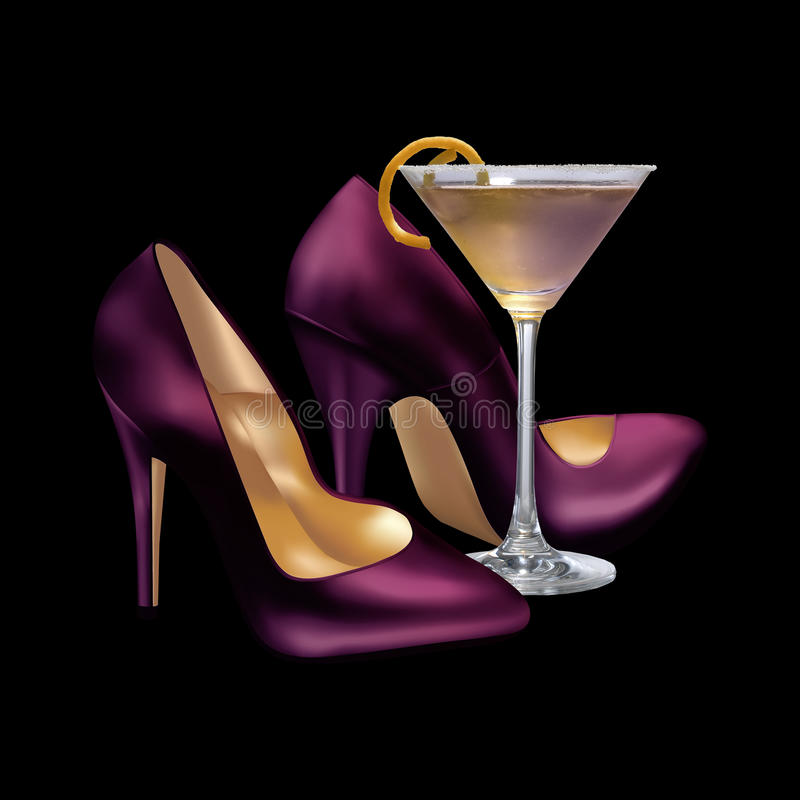 Free Girls Night Out Cocktail And Heels Stock Photos - 54567003