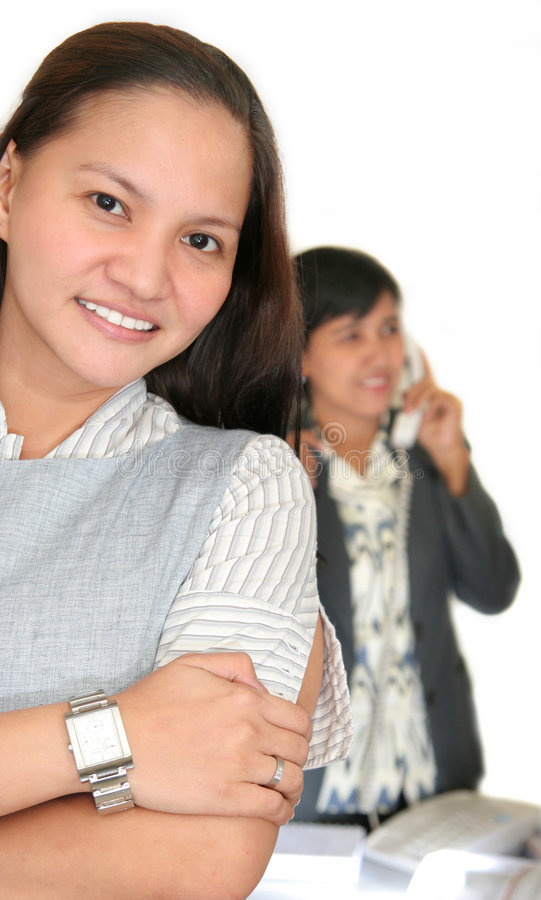 Girls at office. Photograph two girls at office royalty free stock images
