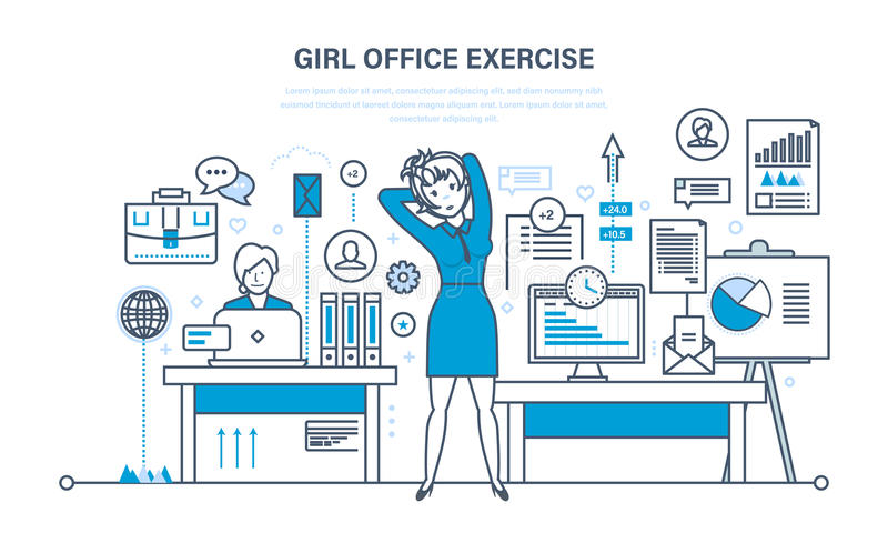 Girls in office do exercises, for rest and recovery. vector illustration