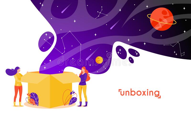 Girls open box in flat style. Cartoon characters vector illustration. stock illustration