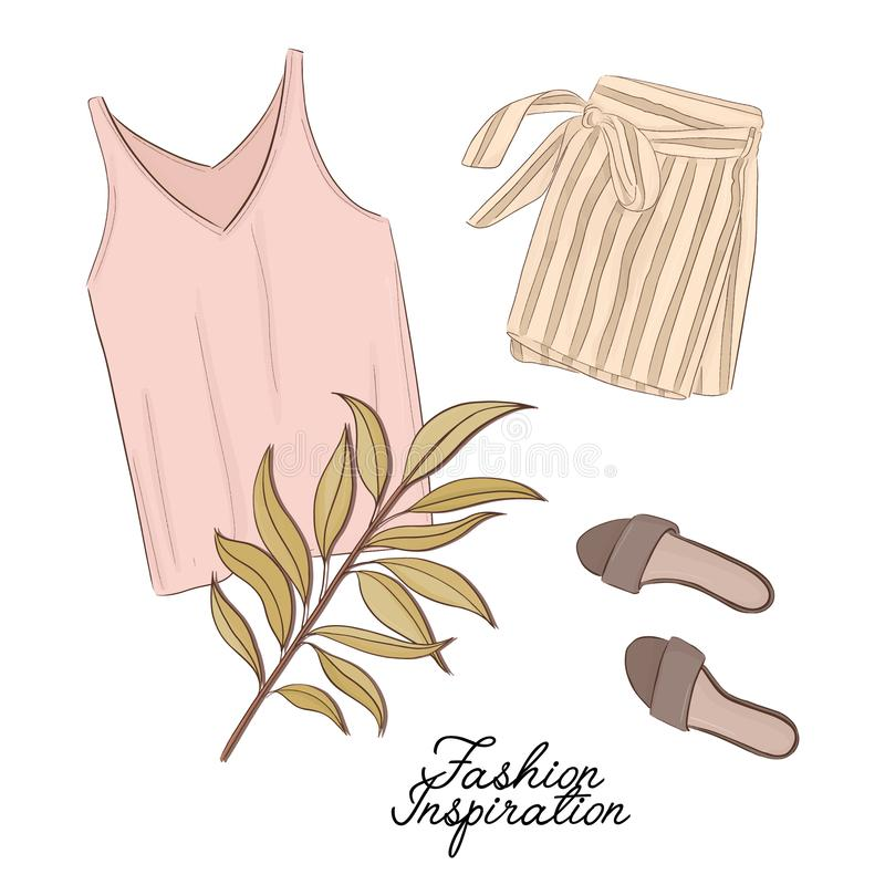 Girls outlook: shorts, shoes and top in pastel colors, decorated with palm leave. Trendy fashion illustration. Magazine article fl stock illustration