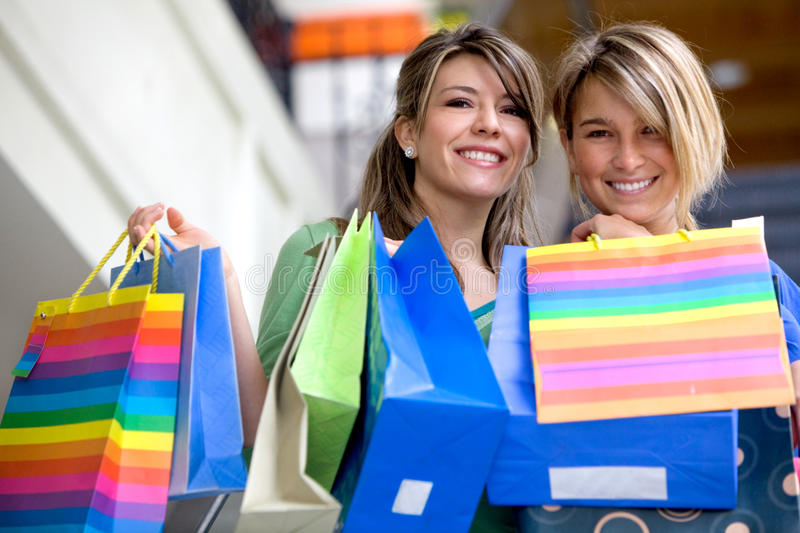 Download Girls with paper bags stock image. Image of friends, beautiful - 12916723
