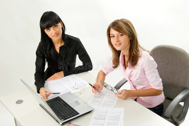 Download Girls With Papers And Laptop Stock Image - Image of information, business: 3301159