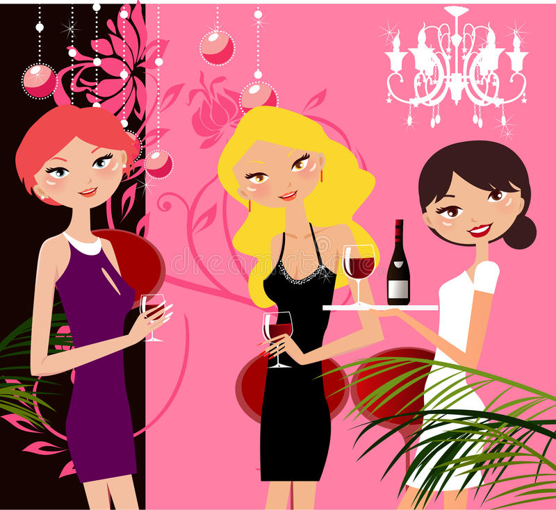 Girls in party vector illustration