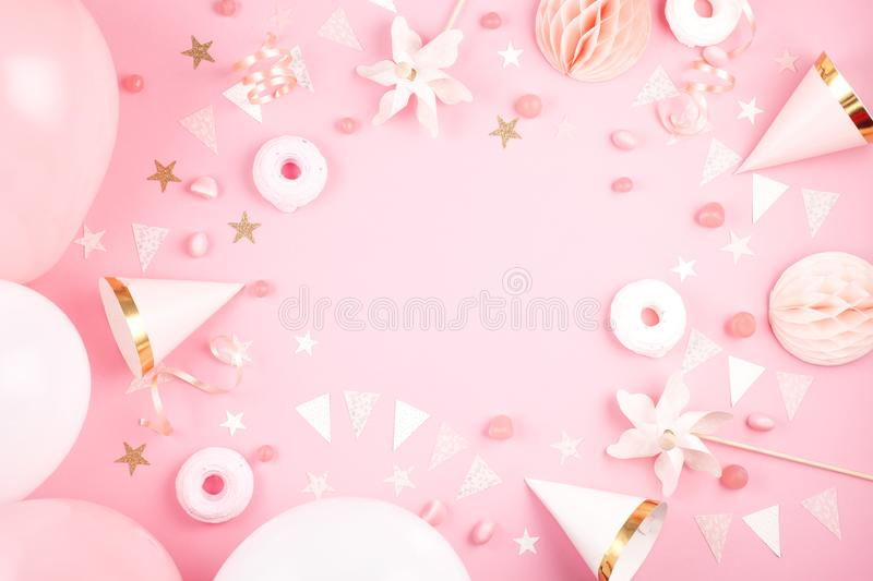 Girls party accessories over the pink background. Invitation, bi. Rthday, bachelorette party, baby shower concept royalty free stock photography