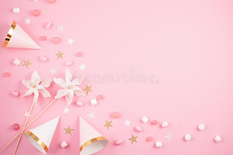 Girls party accessories over the pink background. Invitation, bi. Rthday, bachelorette party, baby shower concept stock photos