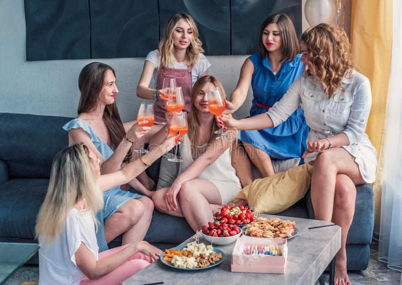 Beautiful Women Friends Having Fun At Bachelorette Party royalty free stock images