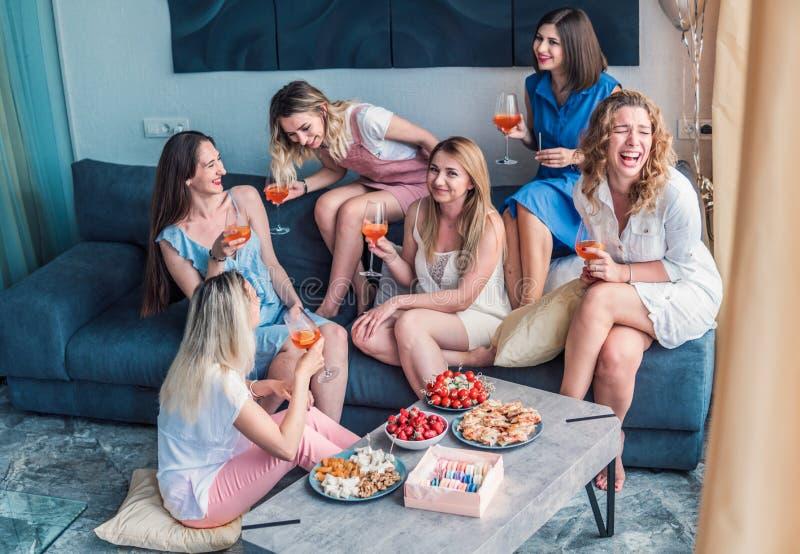 Beautiful Women Friends Having Fun At Bachelorette Party stock images