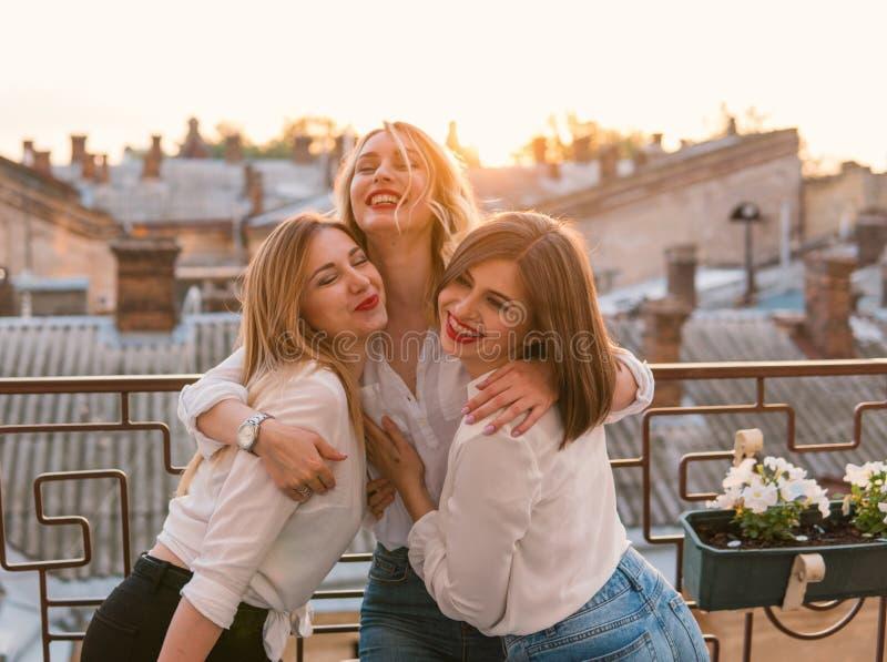 Beautiful Women Friends Having Fun At Bachelorette Party royalty free stock photography
