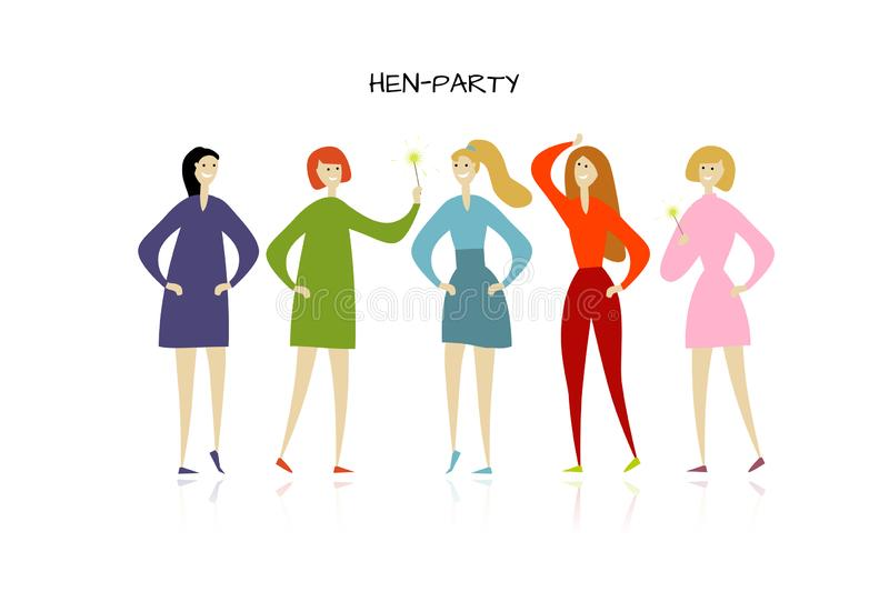 Girls party. Funny people characters. Vector illustration vector illustration