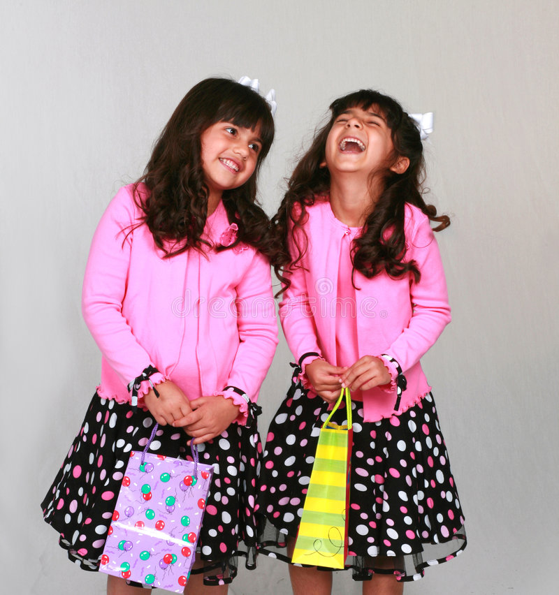 Girls with party gifts royalty free stock images