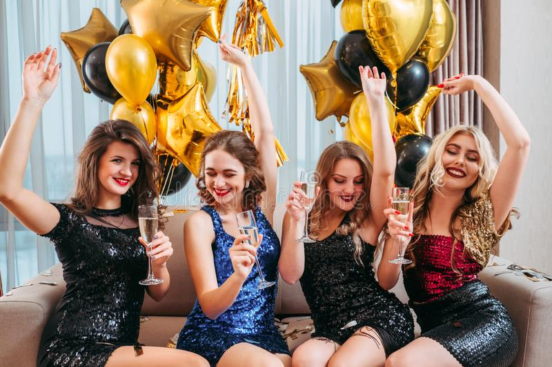 Girls party hangout enjoying time together royalty free stock images