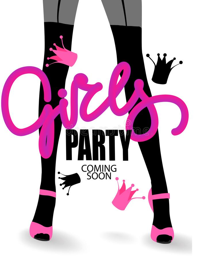 Free Girls Party Invitation Card With Woman`s Legs In Stockings And Crowns. Royalty Free Stock Image - 136097426