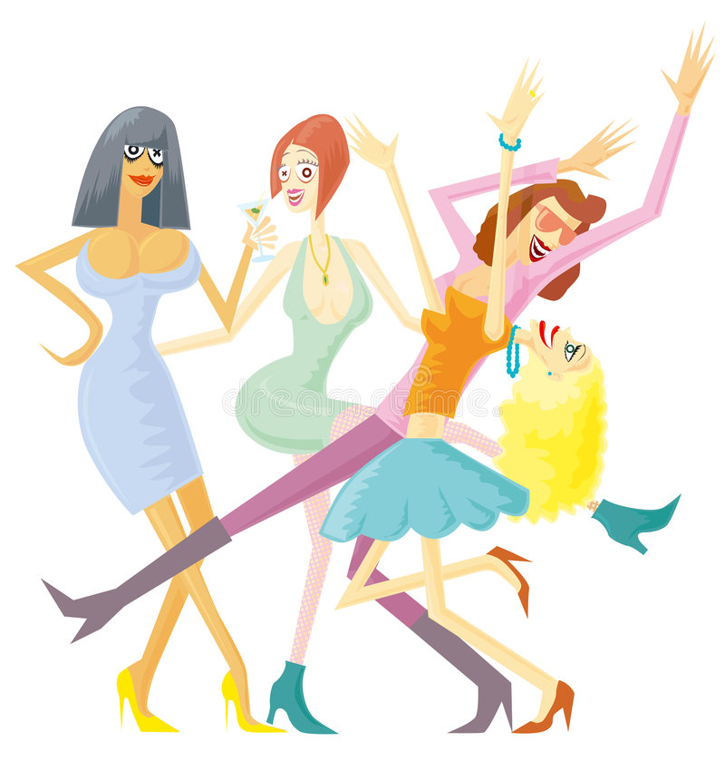 Girls party isolated. Party people. Vector illustration without gradients