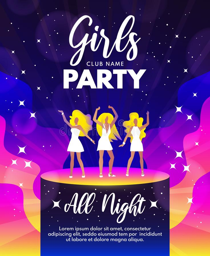 Girls Party vector background  in pink, blue and yellow colors royalty free illustration