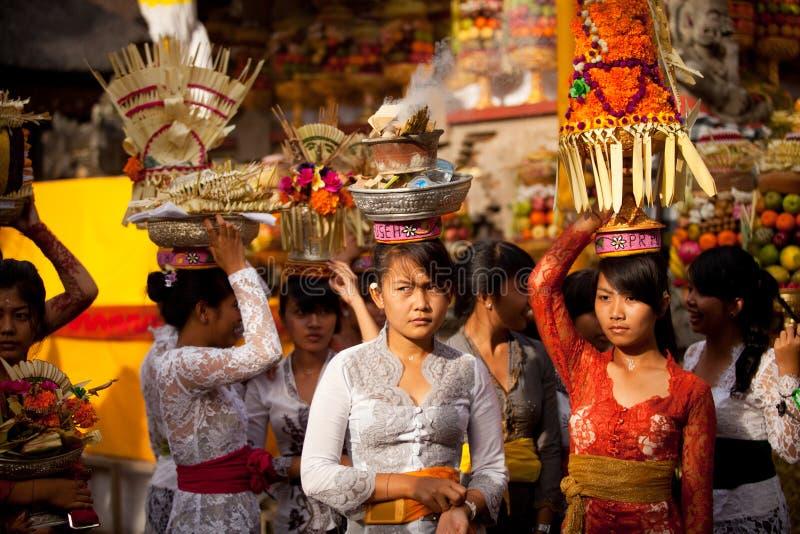 Girls during performed Melasti Ritual on Bali stock photos