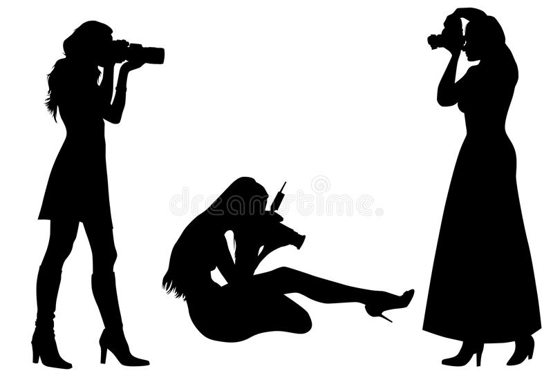 Photographer silhouette woman