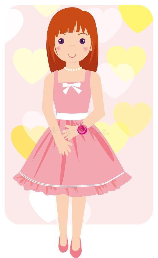 Girls pink dress. The girl wearing a pink dress stock illustration