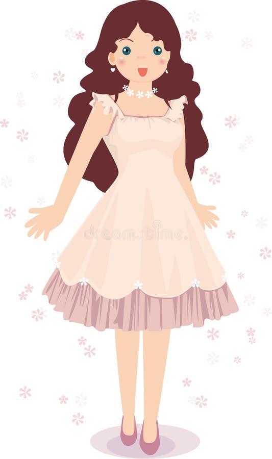 Girls pink dress. The girl wearing a pink flower dress royalty free illustration