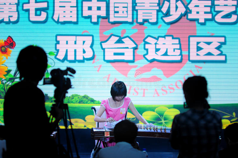 Download Girls play the Guzheng editorial stock photo. Image of girls - 25428453