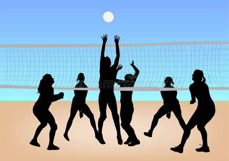 Active Young Women Volleyball Player Sport Stock Vector: Girls Play Volleyball Stock Photos