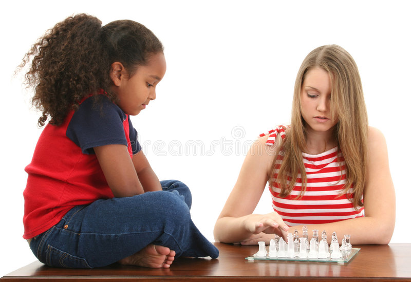 Girls Playing Chess stock photos