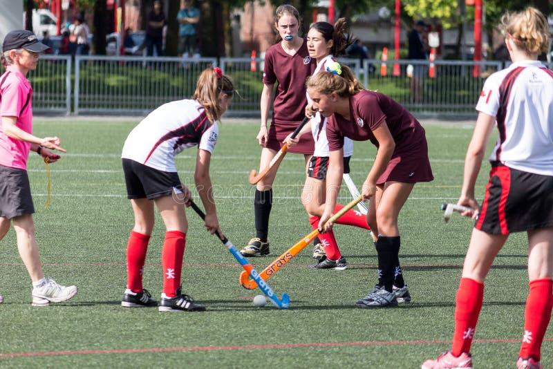 Girls playing field hockey stock photography