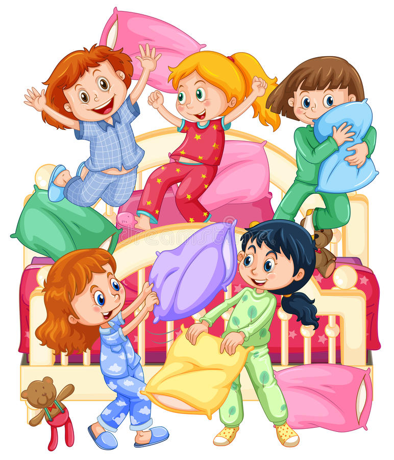 Girls playing pillow fight at slumber party stock illustration