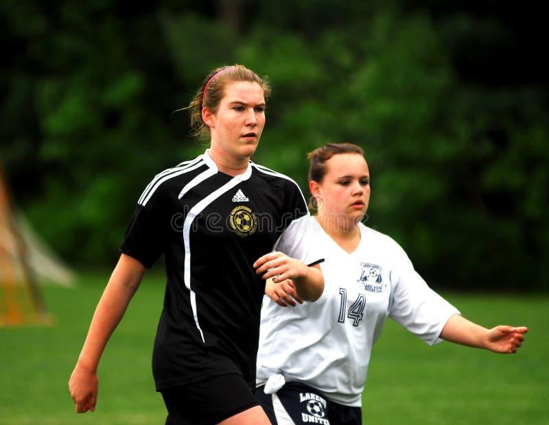 Girls Playing Soccer royalty free stock photos