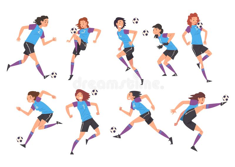 Girls Playing Soccer Collection, Young Women Football Players Characters in Sports Uniform Kicking the Ball Vector vector illustration