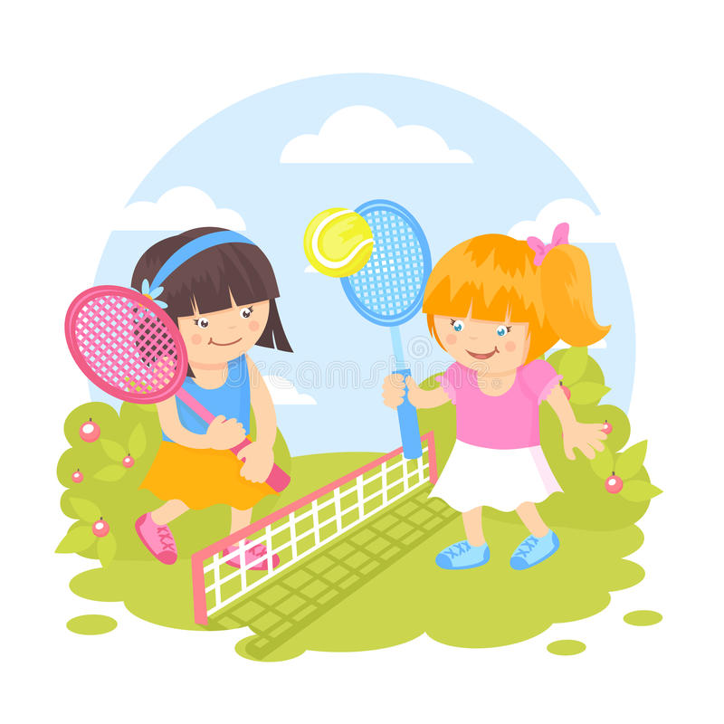 Girls playing tennis royalty free illustration