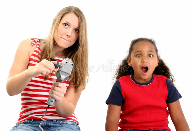 Download Girls Playing Video Game stock image. Image of american - 467801