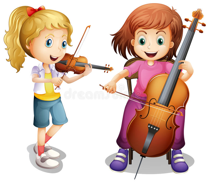 Girls playing violin and cello royalty free illustration