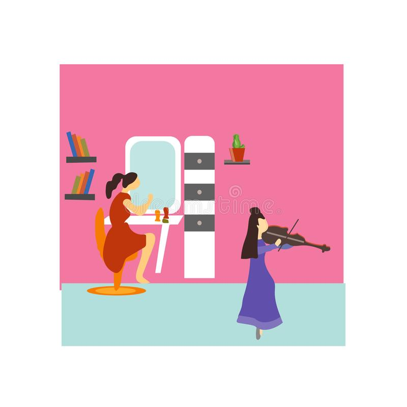 Girls playing violin vector vector sign and symbol isolated on white background, Girls playing violin vector logo concept royalty free illustration