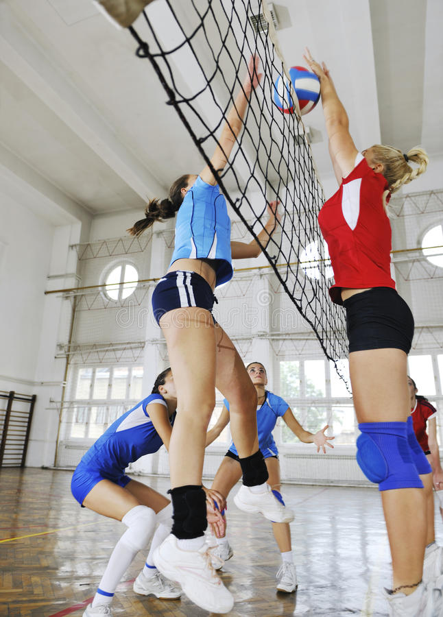 Download Girls Playing Volleyball Indoor Game Stock Image - Image: 15526325