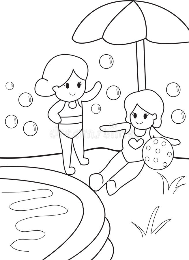 Download girls by the pool kid coloring page stock illustration illustration of exterior