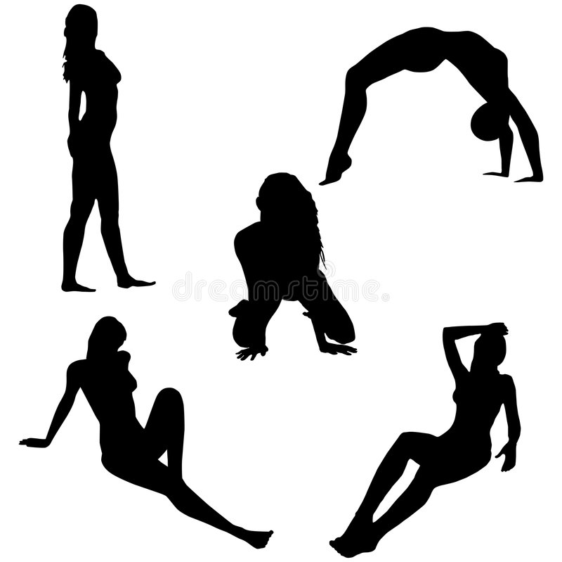 Girls posing. Silhouettes of girls in sexual poses without clothes royalty free illustration