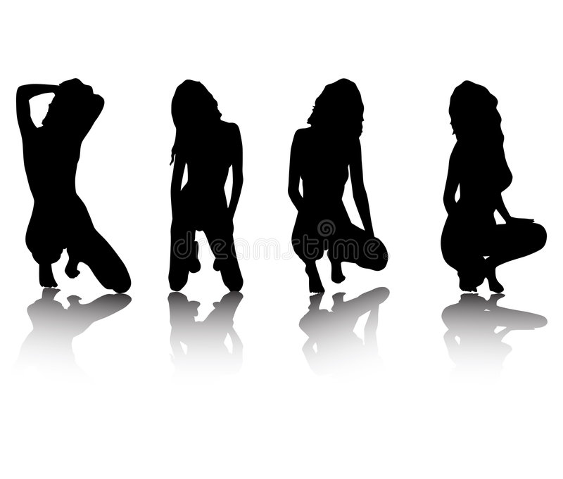 Girls posing. Silhouettes of girls in sexual poses without clothes stock illustration