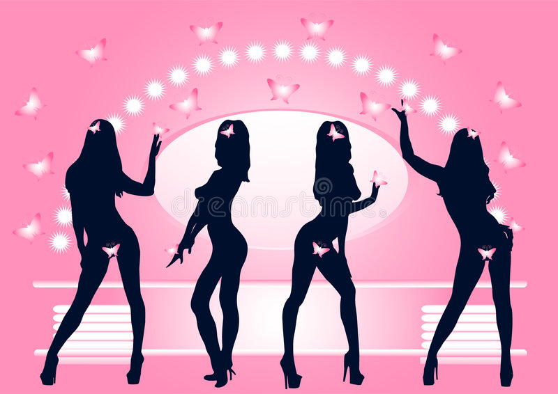 Girls posing. Silhouettes of dancing girls without clothes in dress room vector illustration