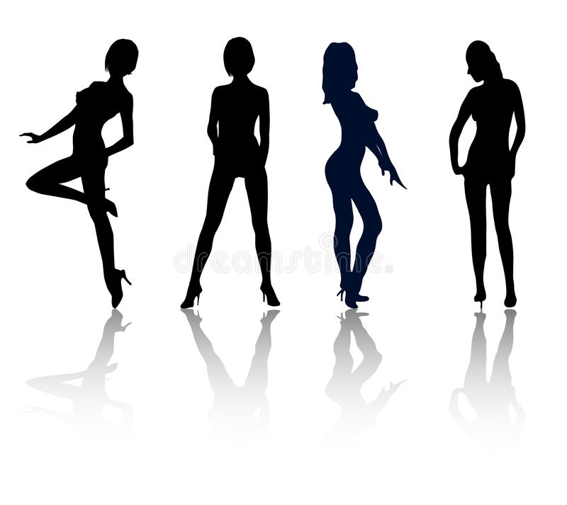 Girls posing. Silhouettes of girls in sexual poses without clothes vector illustration