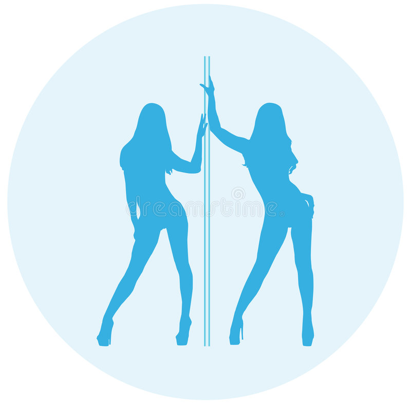 Girls posing. Silhouettes of girls in sexual poses without clothes with a pole stock illustration