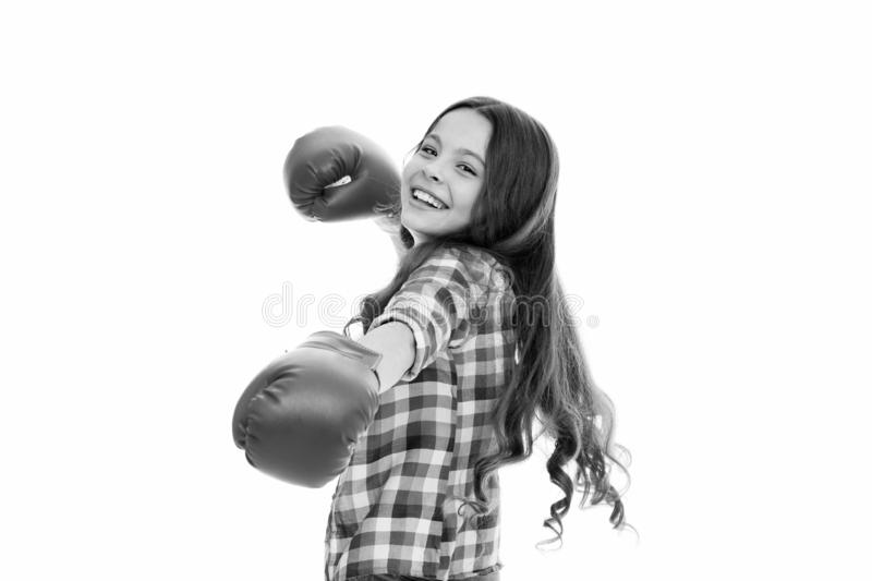 Girls power concept. Upbringing confidence and strong character. Female rights and liberties. Girl boxing gloves ready. To fight. Kid strong and independent stock photo